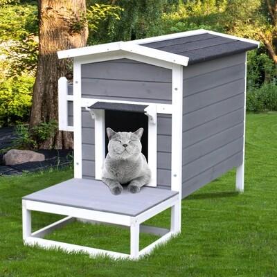 Outlet PawHut® Katzenhaus Katzenhütte Katzenhöhle Kleintierhaus mit Terrasse und Balkon Tannenholz 115 x 66,5 x 74,7 cm