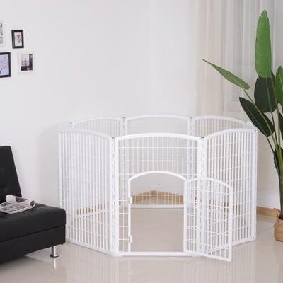 PawHut® Welpengitter Freilaufgehege Laufstall für Haustiere mit Tür 6 Teile sechseckig PP-Kunststoff rostfrei Weiß Ø180 x H95 cm