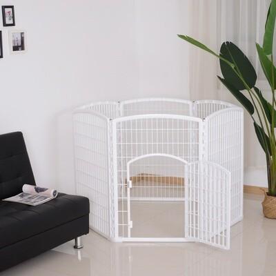 PawHut® Welpengitter Freilaufgehege Laufstall für Haustiere mit Tür 6 Teile sechseckig PP-Kunststoff rostfrei Weiß Ø135 x H95 cm