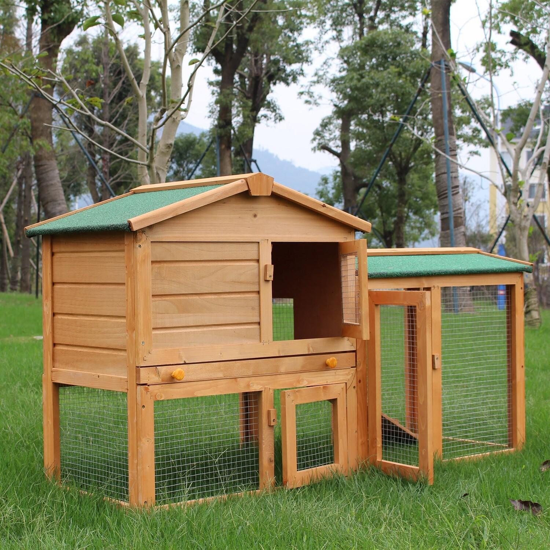 Outlet PawHut® Hasenstall Hasenkäfig Kaninchenkäfig Kleintierstall Hasen Stall mit Freigehege