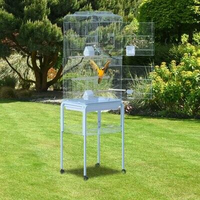 PawHut® Vogelhaus Vogelkäfig Vogelvoliere für Papagei Wellensittich Vogelbauer mit rollbarem Ständer Weiss 47,5 x 37 x 153 cm