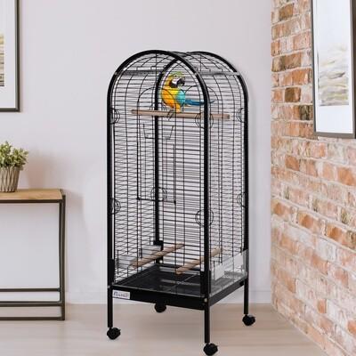 PawHut® Vogelkäfig Vogelvoliere Vogelhaus mit 3 Stangen 4 Rollen für Papagei Metall 54 × 54 × 151 cm