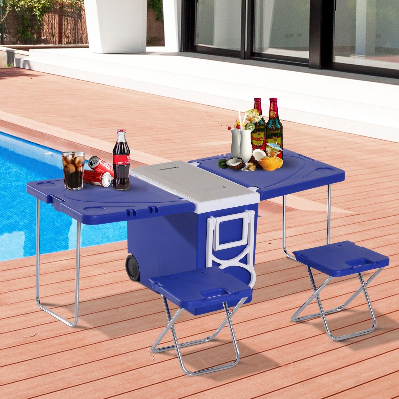 Outsunny® Kühlbox mit Rollen 28L tragbar Camping 3-in-1-Set mit 1 Seitentisch + 2 Hocker klappbar