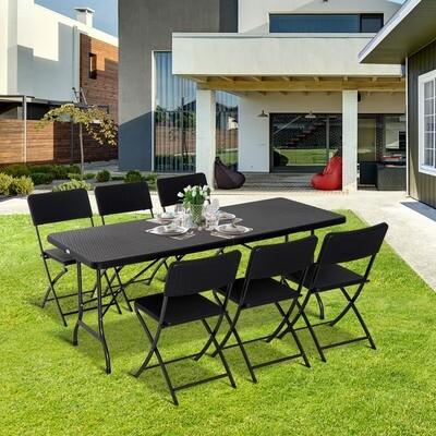 Outsunny® Campingtisch Picknicktisch Sitzgruppe 7 tlg. klappbar Schwarz