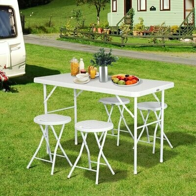 Outsunny® Campingtisch Picknicktisch Sitzgruppe 5 tlg. klappbar Weiss