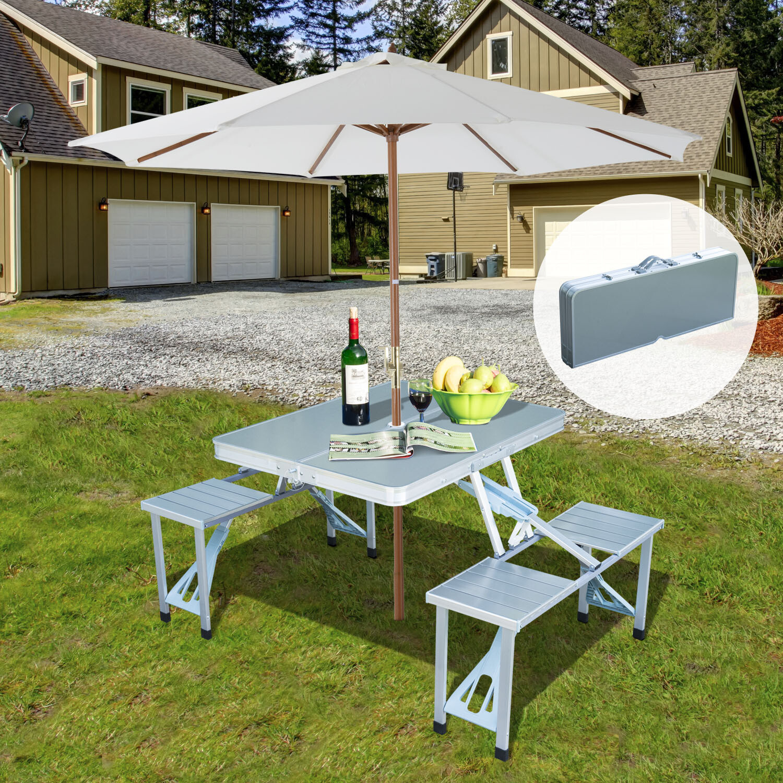 Outsunny® Alu Campingtisch Picknick 4-Sitzer klappbar silber