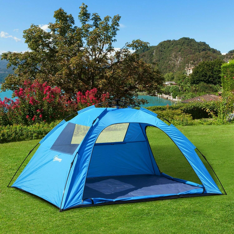 Outsunny® Campingzelt Pop Up Zelt für 2 personen Blau L223 x B150 x H110cm