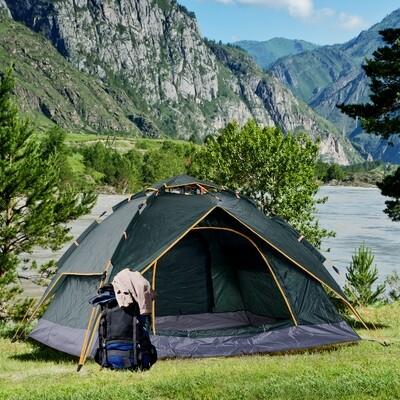 Outsunny® Doppelzelt Campingzelt Quick-Up-Zelt 2 Erwachsene + 1 Kind wasserdicht Tragetasche 2 Türen Dunkelgrün 210 x 210 x 140 cm