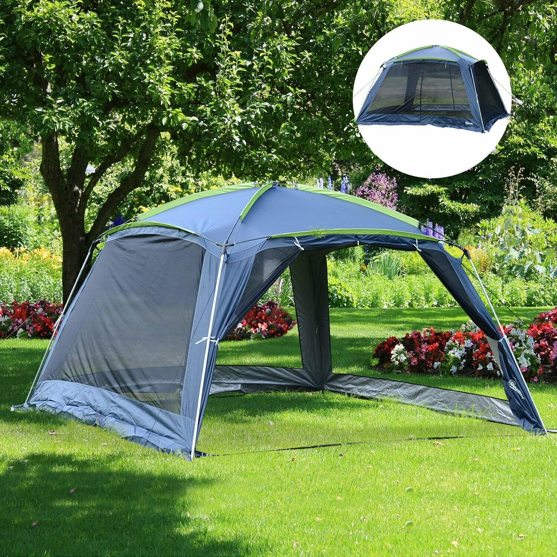 Outsunny® Campingzelt Kuppelzelt für 5-8 Personen Dunkelblau