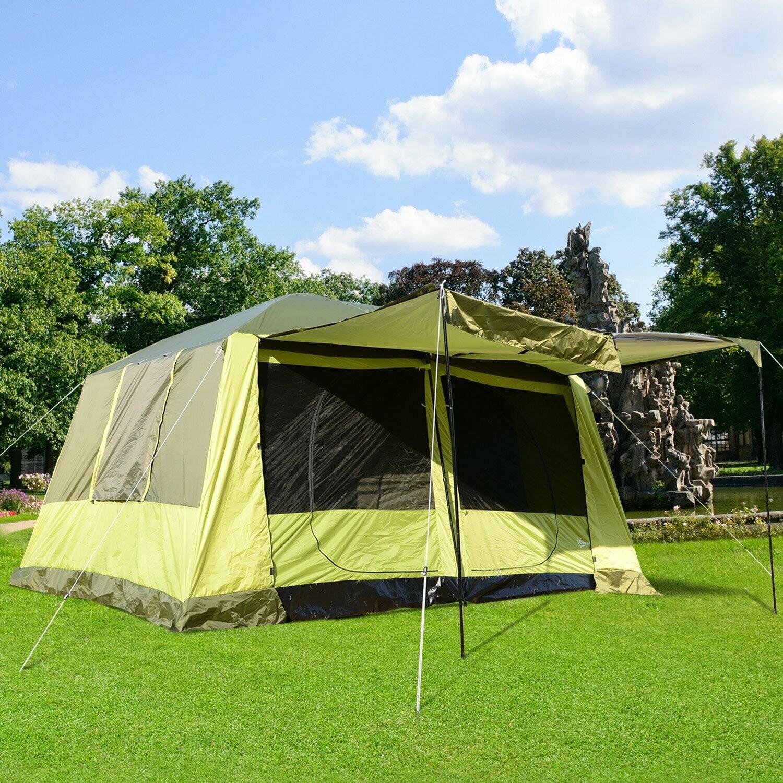 Outsunny® Campingzelt Kuppelzelt 4-8 Personen Gelbgrün L410 x B310 x H225cm