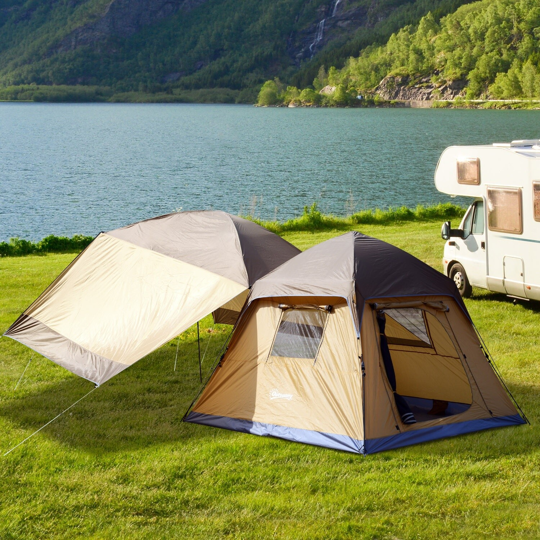 Outsunny® Campingzelt mit Sonnendach Lehmgelb L240 x B240 x H175cm