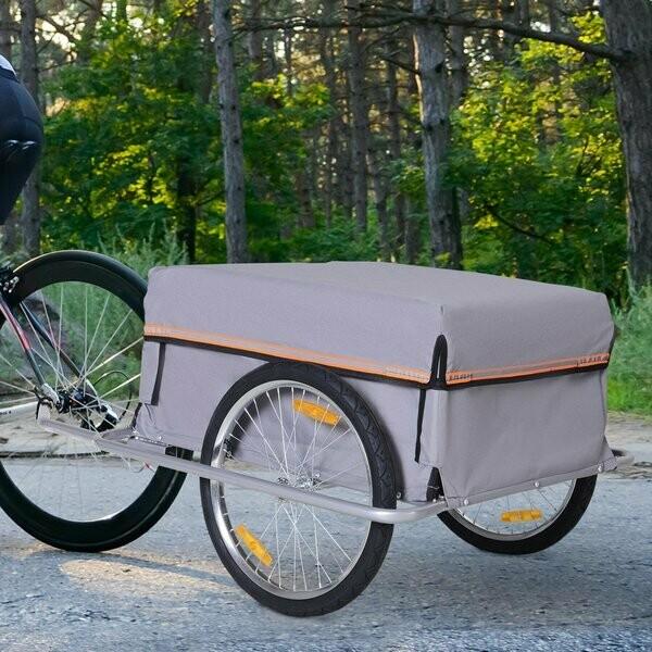 Outlet: HOMCOM® Velo-Anhänger Transportanhänger Lasten-Fahrradanhänger Fahrrad Faltbar CargoTrailer Grau