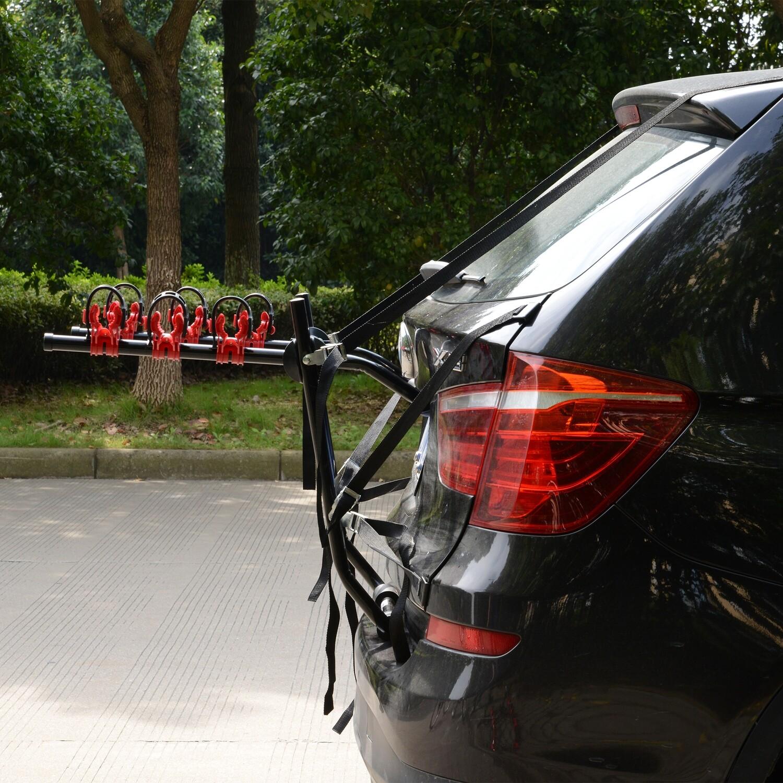 HOMCOM® Velo-Träger Fahrradheckträger für 3 Fahrräder Heckträger faltbar Metall + Kunststoff Schwarz + Rot