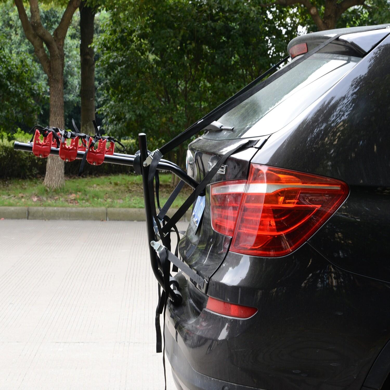 HOMCOM® Fahrradheckträger für 3 Fahrräder Velo-Träger Heckträger faltbar Metall + Kunststoff Schwarz + Rot