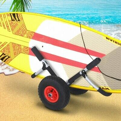 HOMCOM® Kanuwagen Kajakwagen Surfwagen klappbar gepolstert PU-Reifen Alu Silber bis 45 kg L65 x B38 x H52 cm