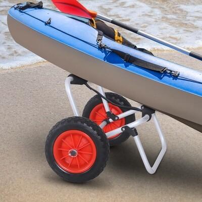 HOMCOM® Kanuwagen Kajakwagen Surfwagen klappbar mit Gurt Luftreifen gepolstert Alu Silber bis 90 kg L70 x B40 x H42 cm
