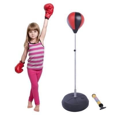 HOMCOM® Punchingball-Set mit Boxhandschuhen und Pumpe | 126/132/138/144 cm | Rot, Schwarz