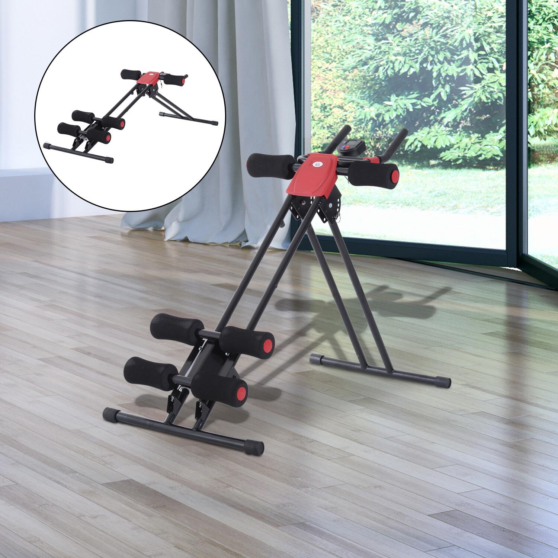 HOMCOM® Rückentrainer Bauchtrainer Bauchmuskel Sportgerät Fitness LCD Display klappbar