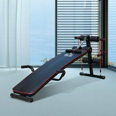 HOMCOM® Sit Up Bank Bauchtrainer Trainingsbank Widerstandsbänder Stahl + PVC Schwarz + Rot 56,5 x 135 x (50–68) cm