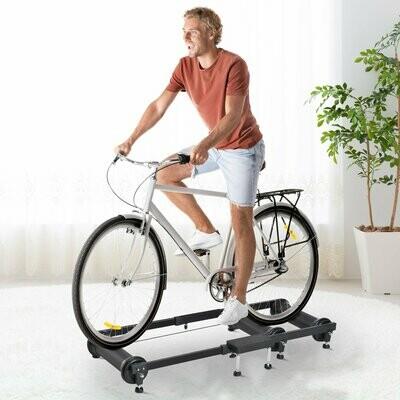 HOMCOM® Rollentrainer Heimtrainer Indoor-Training für alle gängigen Fahrradmodelle Alu Schwarz L(82-130) x B49 x H16 cm