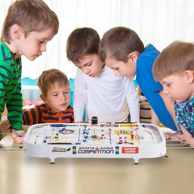HOMCOM® Kinder Mini Tischhockey Eishockeytisch inkl. 12 Figuren 2 Bälle Weiss