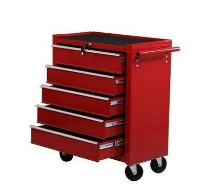 HOMCOM® Fahrbarer Werkstattwagen, abschließbar mit 5 Schubladen, rot