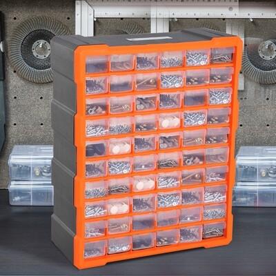 DURHAND® Sortimentskasten Kleinteilemagazin 60 Schubfächer Orange
