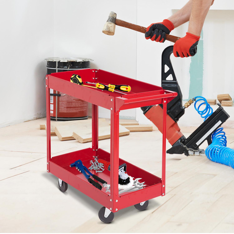 DURHAND® Werkstattwagen Werkzeugwagen Rollwagen 2 Etagen Rot