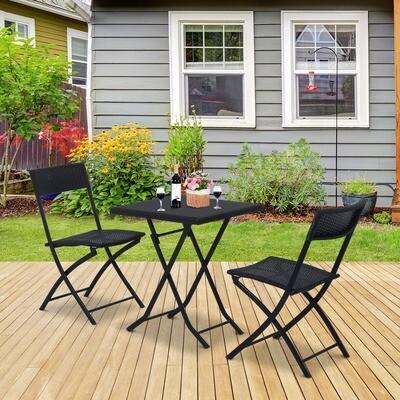 Outsunny® Balkonset Polyrattan Wicker Gartenmöbel 3tlg. Balkonmöbel