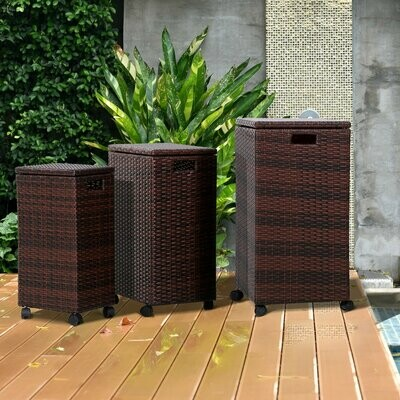 Outsunny® Aufbewahrungsbox 3er-Set Aufbewahrungskiste Auflagenbox mit Deckel rollbar Polyrattan Wicker Braun L/M/S