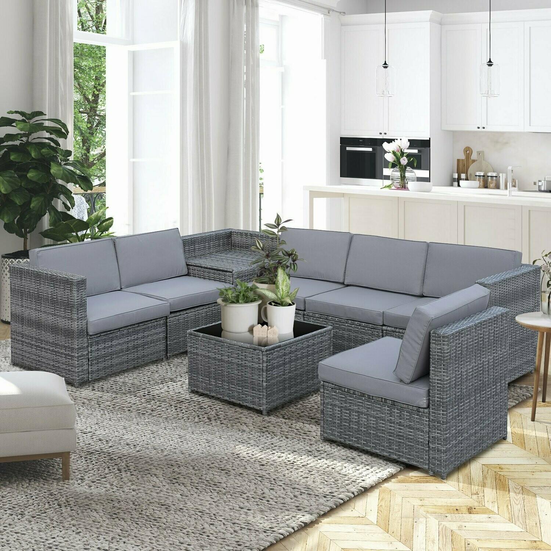 Outsunny® 8-tlg. Polyrattan Wicker Gartengarnitur Gartenmöbel Garten-Set Sitzgruppe Loungemöbel Beistelltisch als Aufbewahrungskorb Grau