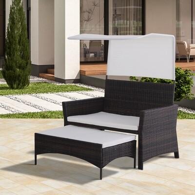 Outsunny® 2-tlg. Gartensofa Gartenmöbel Lounge Gartenset Rattanmöbel Braun Polyrattan Wicker 1 x Hocker mit Sonnendach