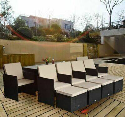 Outsunny® Wicker Polyrattan Gartenmöbel 27 tlg. Gartenset Sitzgruppe Garnitur
