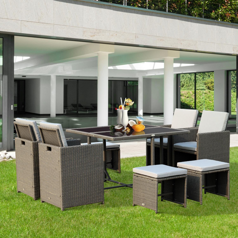 Outsunny® Sitzgruppe Wicker /  Polyrattan Gartenset 21 tlg. mit Kissen Grau