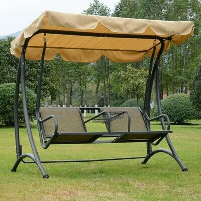 Outsunny® 2-Sitzer Hollywoodschaukel mit Sonnendach Gartenschaukel Metall Braun + Schwarz 195 x 115 x 172 cm