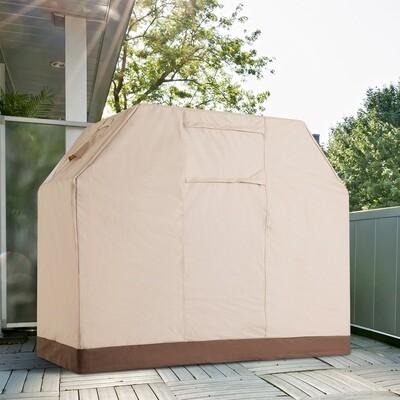 Outsunny® Abdeckung Grill Abdeckhaube Beige L185 x B71 x H130 cm