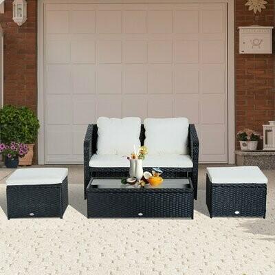 Outsunny® 4-tlg. Polyrattan Wicker Gartenmöbel Sitzgruppe Lounge mit Kissen Schwarz 1 x Doppelsofa 1 x Couchtisch 2 x Hocker