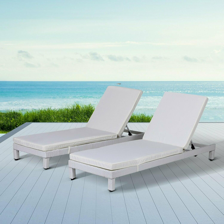 Outsunny® 2er-Set Sonnenliege Relaxliege Rückenlehne 5-stufig verstellbar mit Kissen Wicker Polyrattan 196 x 65 x 22 cm