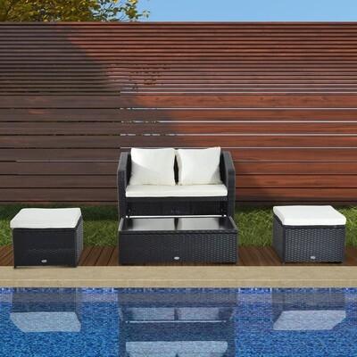 Outsunny® 9 tlg. Polyrattan Sitzgruppe Gartenset Lounge Schwarz
