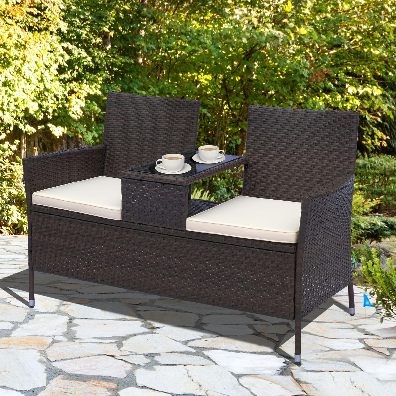 Outsunny® Wicker Polyrattan Gartenbank Gartensofa mit Tisch 2-Sitzer Stahl Braun
