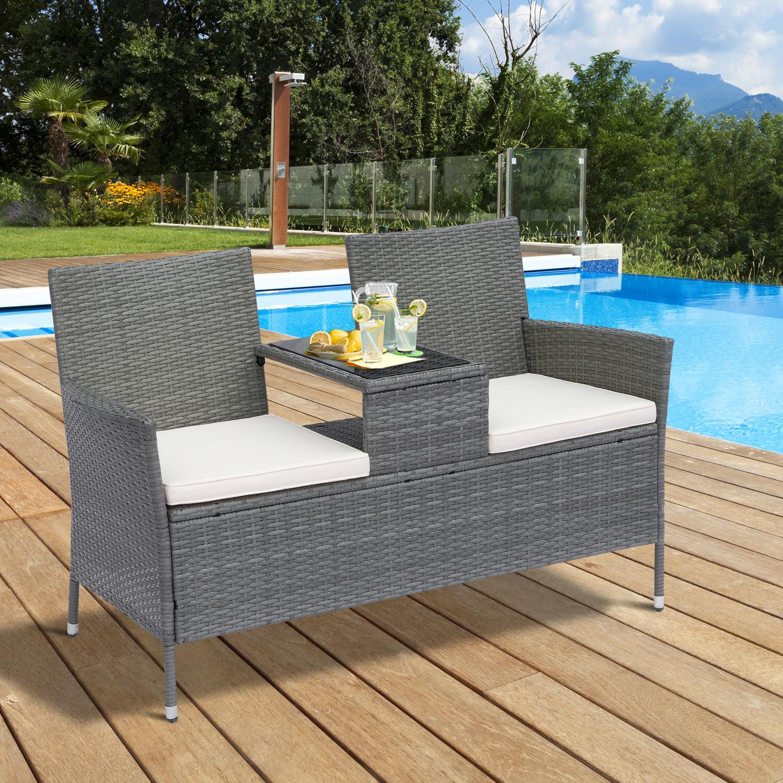 Outsunny® Wicker Polyrattan Gartenbank Gartensofa mit Tisch 2-Sitzer Stahl Grau