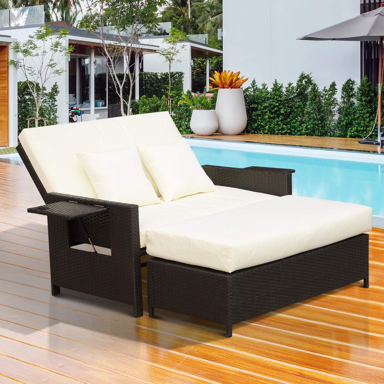 Outsunny® Wicker Polyrattan Lounge-Sofa 2-Sitzer mit Kissen Braun
