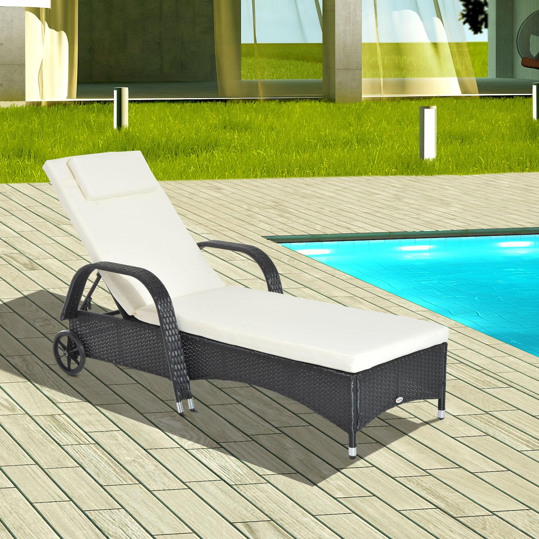 Outsunny® Mobile Gartenliege schwarz Rattanliege Wicker Polyrattan