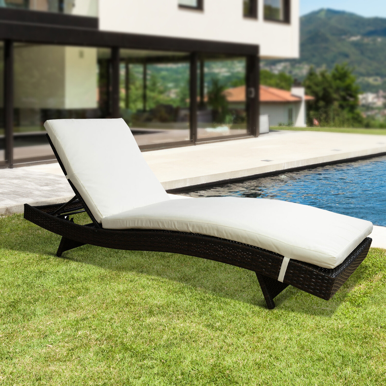 Outsunny® Wicker Polyrattan Gartenliege Sonnenliege Rattanliege Alu braun max.180 kg