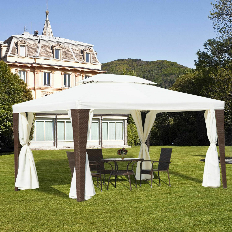 Outsunny® Wicker Polyrattan Gartenpavillon inkl. Seitenteile 3x4m