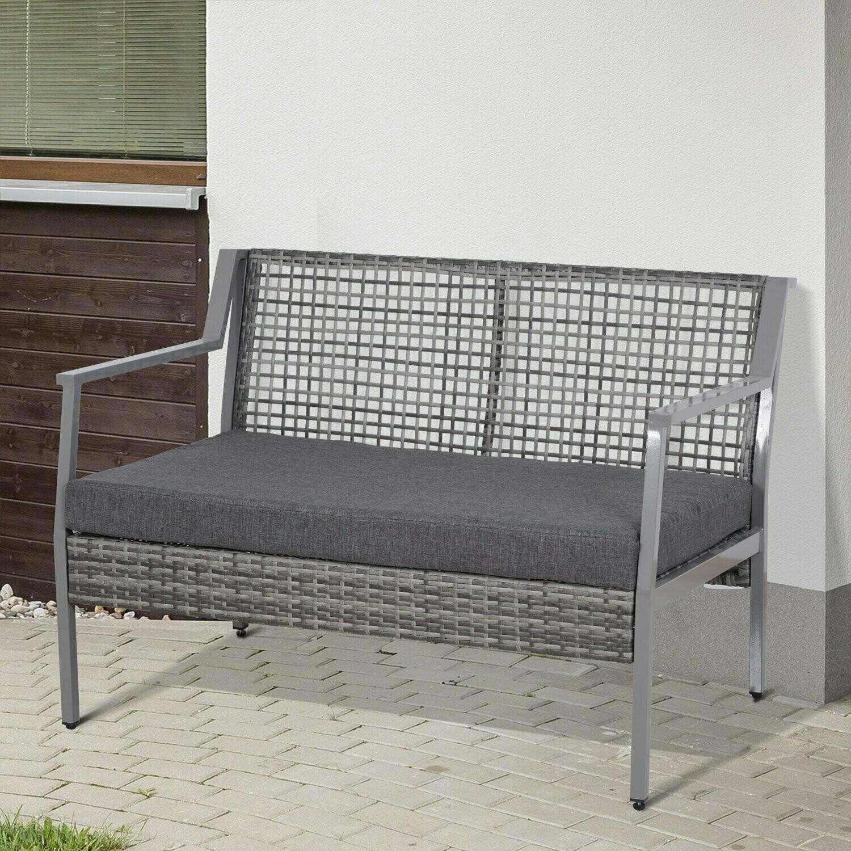 Outsunny® 2er Gartenbank Polsterbank Sitzbank Gartensofa Loungesofa Wicker Polyrattan + Aluminium Grau 118 x 75 x 79 cm