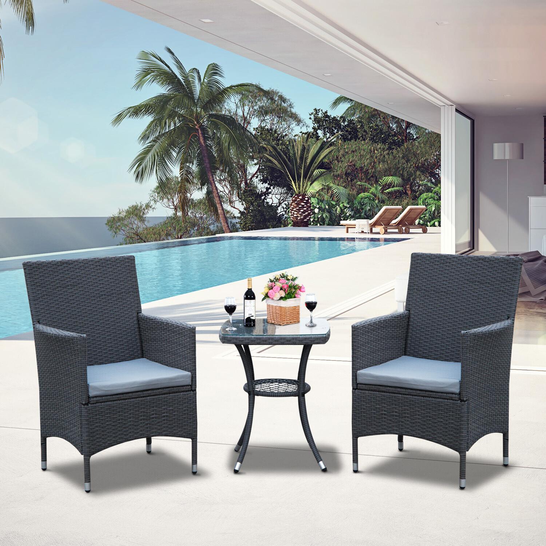 Outsunny® Gartensitzgruppe 3-tlg. Wicker Polyrattan Gartenset Rattanmöbel Grau mit Sitzkissen