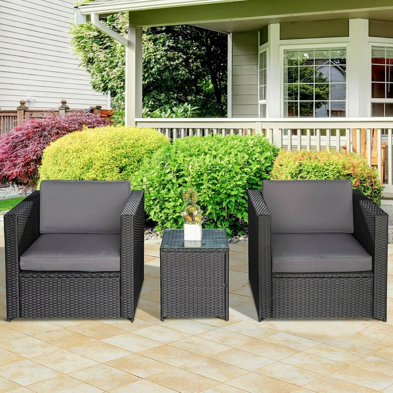 Outsunny® 3-tlg. Wicker Polyrattan Gartengarnitur Gartenmöbel Garten-Set Sitzgruppe Loungeset inkl. Sitzkissen
