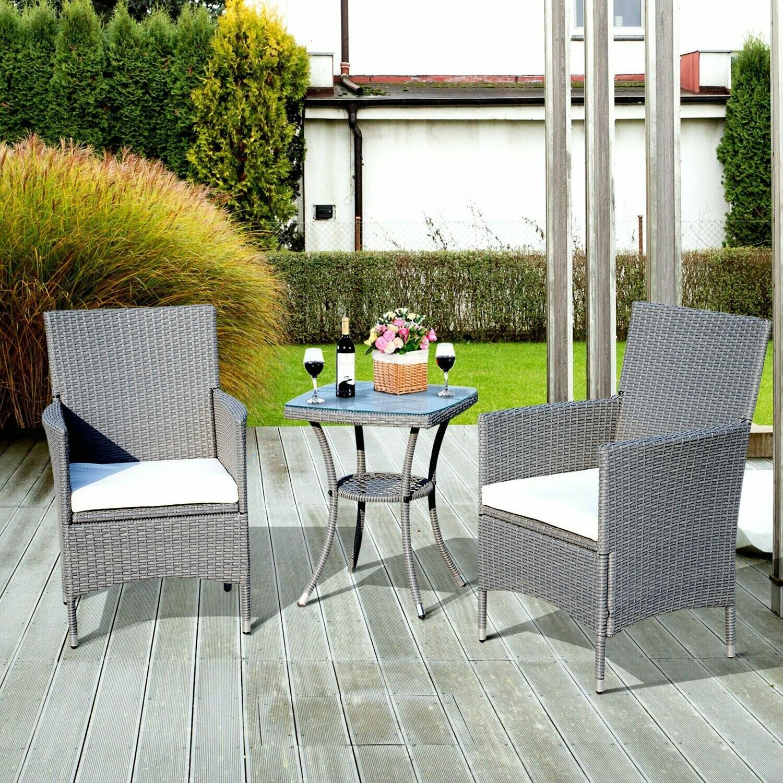 Outsunny® Gartensitzgruppe 3-tlg. Wicker Polyrattan Gartenset Rattanmöbel Polyrattan + Metall Grau 2 x Sessel 1 x Beistelltisch mit Sitzkissen