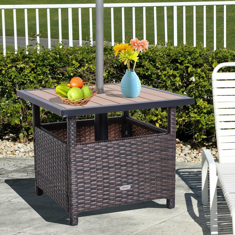 Outsunny® Wicker Polyrattan Beistelltisch Gartentisch für Sonnenschirm